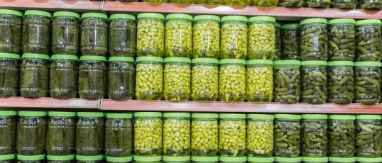 Pickle jars on shelves